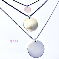 Rosy Silver Medallion Round Disc Charm Necklace