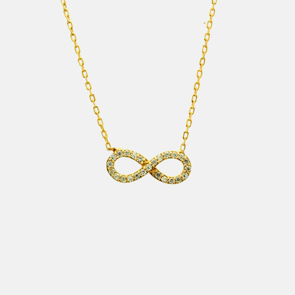 """Infinite Sparkle"" Gold-Dipped Infinity CZ Necklace 16-18 inch"