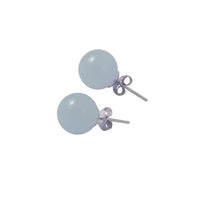 Sterling Silver Aquamarine Round Bead Stud Earrings