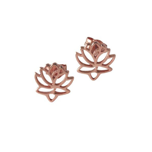 Sterling Silver Lotus Stud Earrings Flower