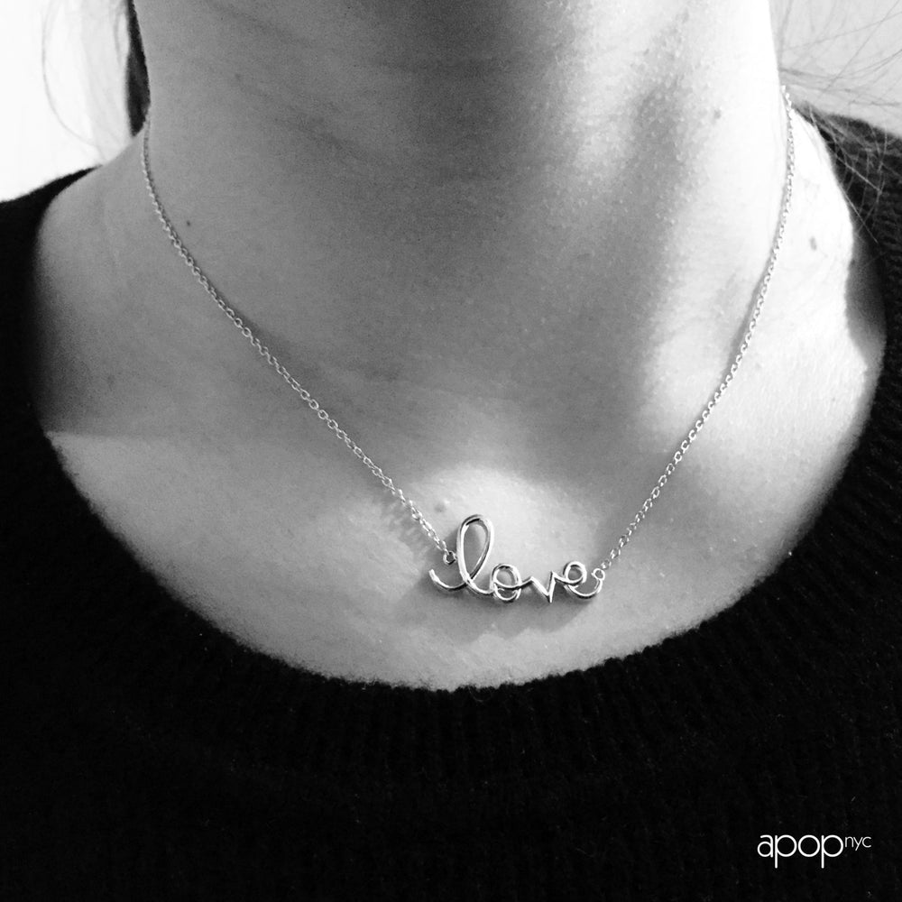 "Sterling Silver Script ""Love"" Necklace 16 inch"
