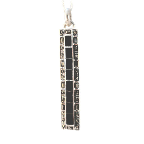 Sterling Silver Marcasite Onyx Bar Pendant Necklace