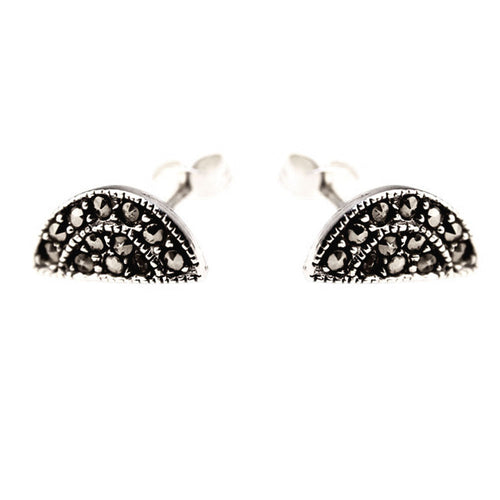 Sterling Silver Marcasite Art Deco Earrings