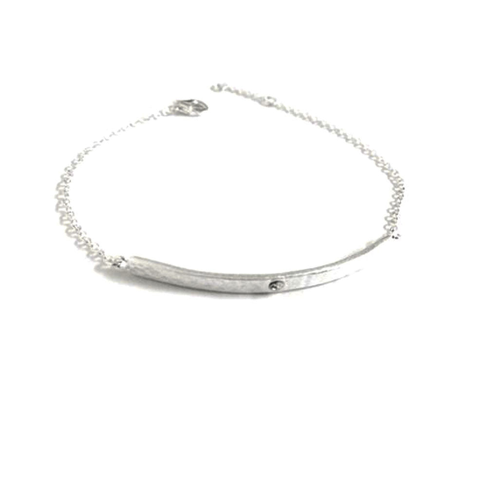 Silver Hammered Matte Bar Bracelet with CZ Stone 7 inch