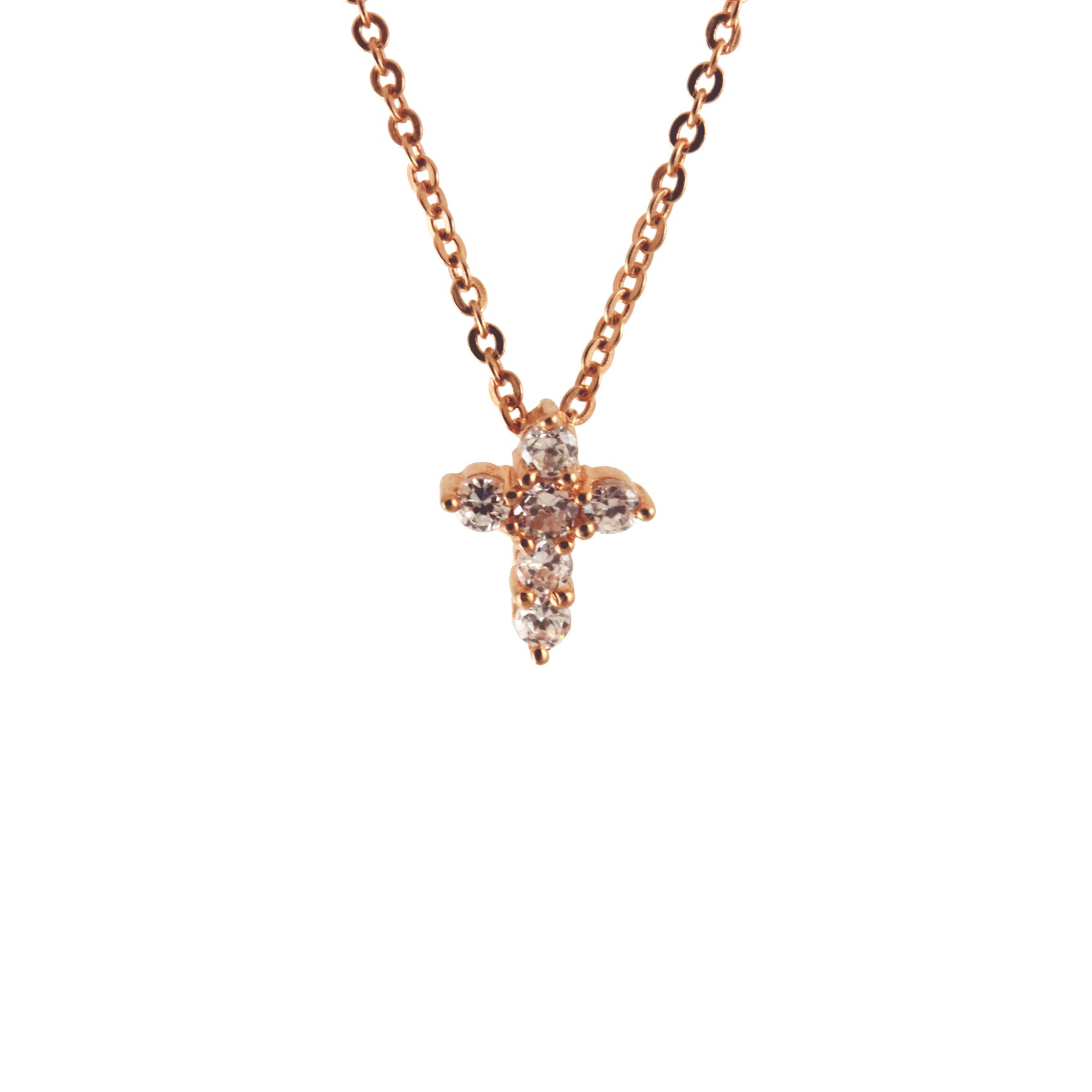Sterling Silver CZ Mini Cross Necklace