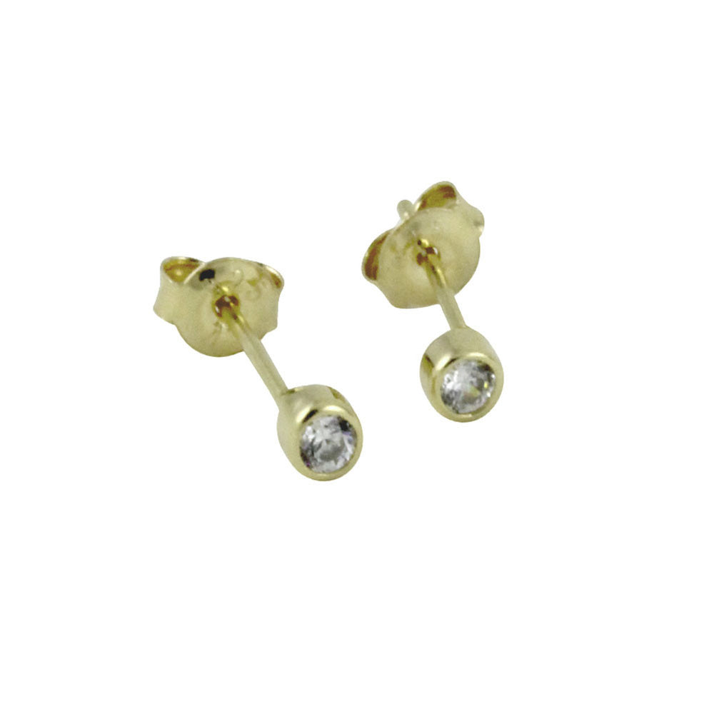 """Tiny"" Gold-Dipped Mini Bezel CZ Stud Earrings"