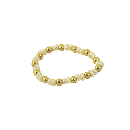 Gold & White Pearl Stretch Ring