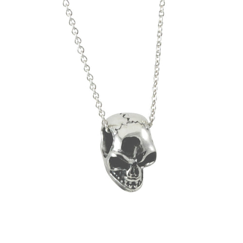 Sterling Silver Mini Skull Pendant Necklace