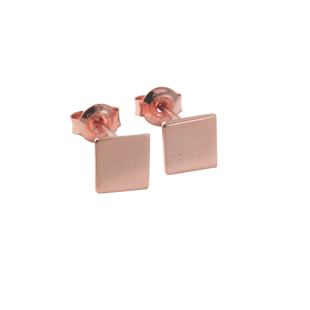"""Tic Tac"" Rosy Mini Square Stud Earrings"