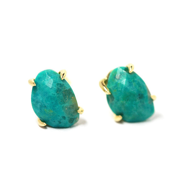 "Gold-Dipped Mini ""Turkoise"" Stud Claw Earrings"
