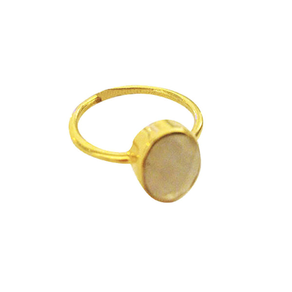 "Gold-Dipped ""Moonstoney"" White Stone Ring"
