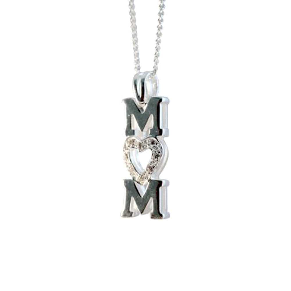 /'Mom/' Necklace with Diamonds in Sterling Silver