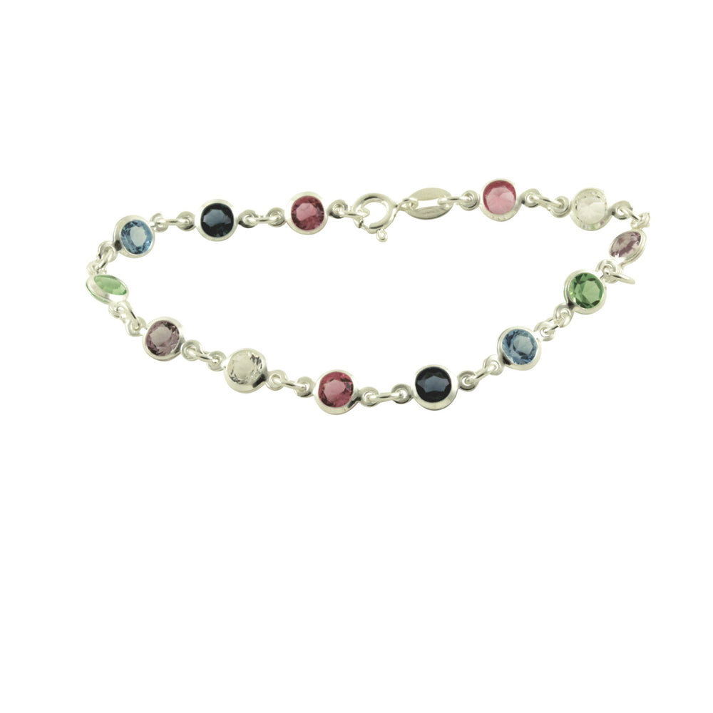 Sterling Silver Multi-Color Pastel Rainbow Stone Bracelet