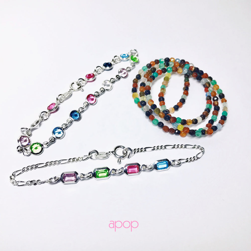 """Tourmaline"" MultiColor Grey Stone Beaded Necklace"