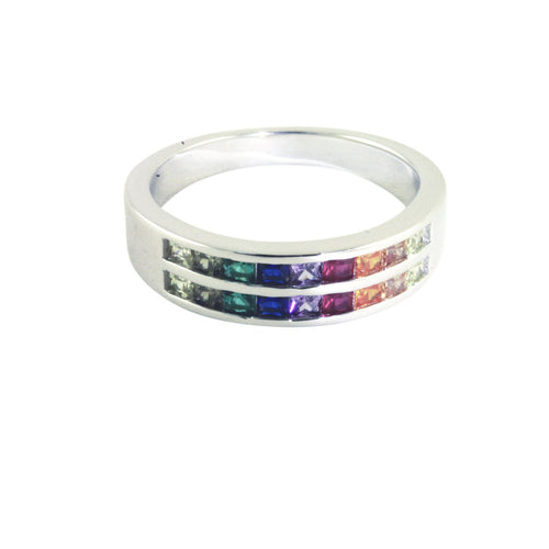 Sterling Silver Multicolor Rainbow CZ Band Ring