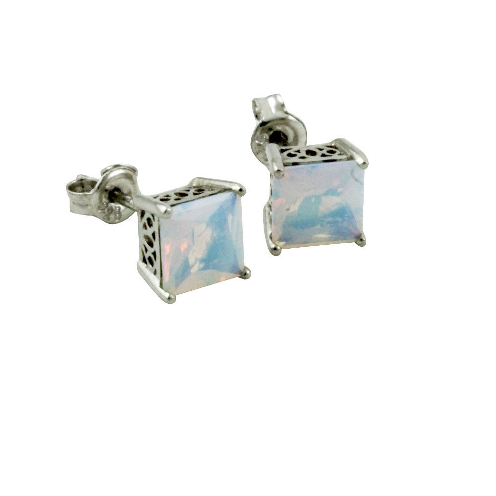 "Sterling Silver ""Milky"" Iridescent CZ Stud Earrings"
