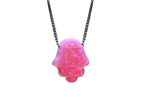 Sterling Silver Pink Opal Mini Hamsa Necklace 18 inch