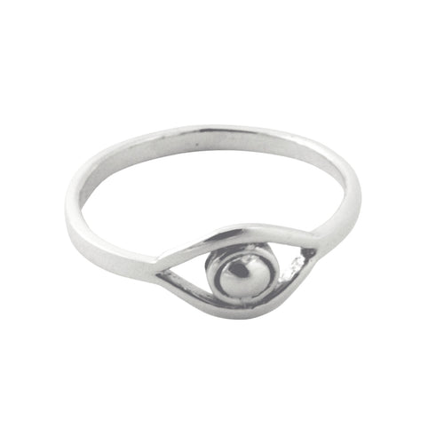 Plain Sterling Silver Evil Eye Ring