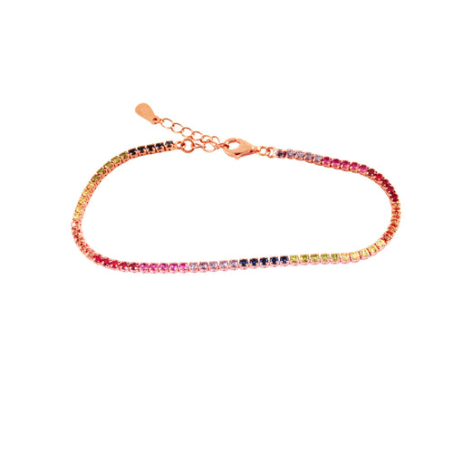 Sterling Silver Multicolor Rainbow CZ Tennis Bracelet