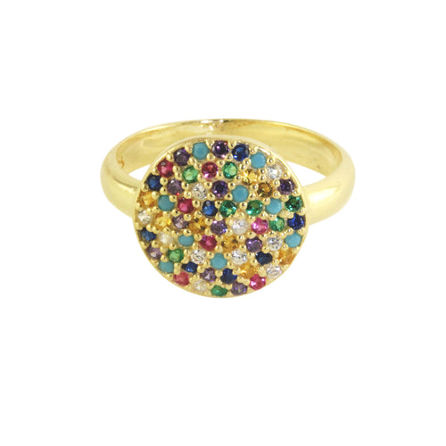 Gold-Dipped Pave CZ Stone Pave Multicolor Rainbow Ring