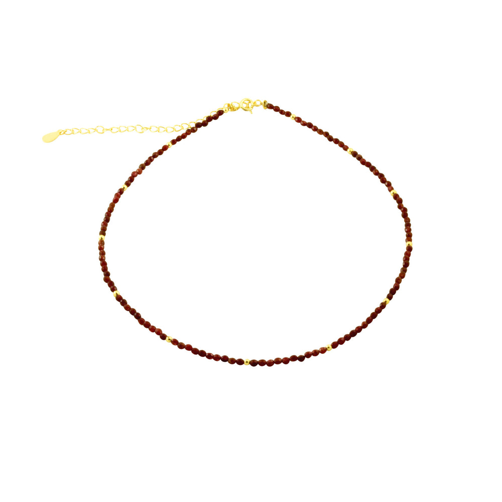 Ruby Red Bead Collar Necklace