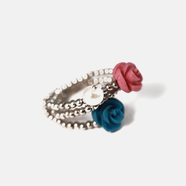 """Ring Around the Rosy"" Sterling Silver Pink & Turquoise Rose Rings"
