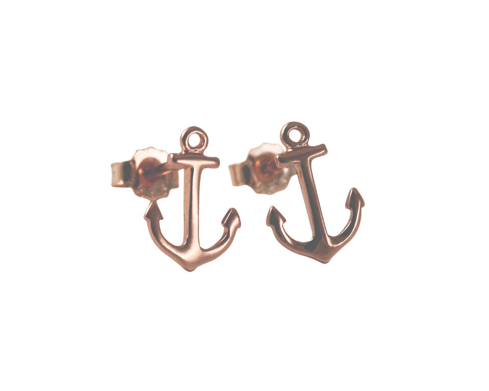Rosy Nautical Anchor Stud Earrings