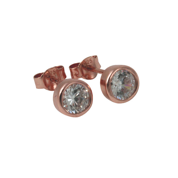 Rose Gold-Dipped Bezel CZ Stud Earrings