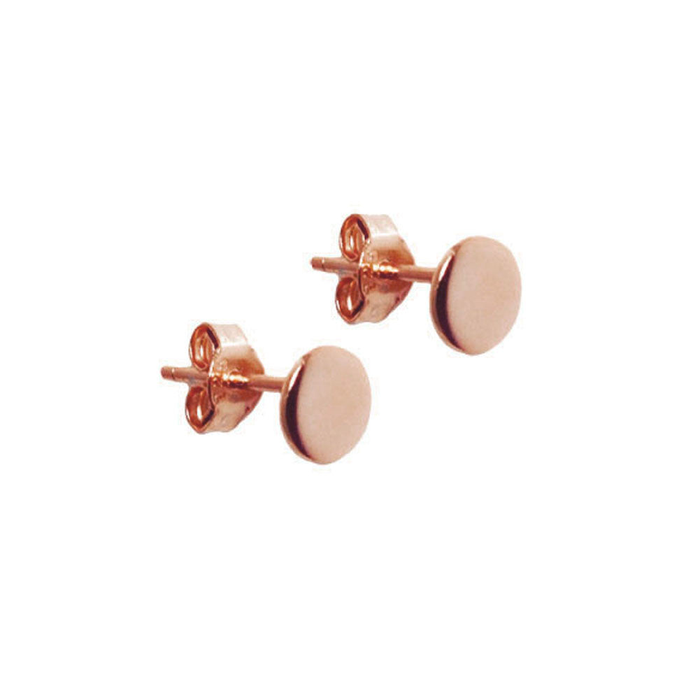 Rosy Round Circle Disc Stud Earrings Mini