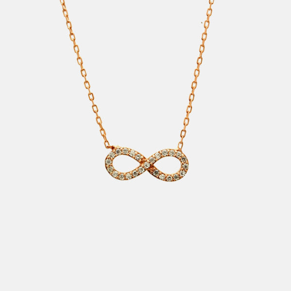 Rosy Infinity Necklace with Stones 16-18 inch - 1 inch Charm