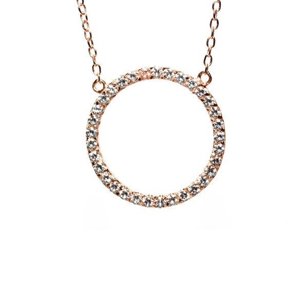 Rosy Circle Pendant Necklace 17 inch