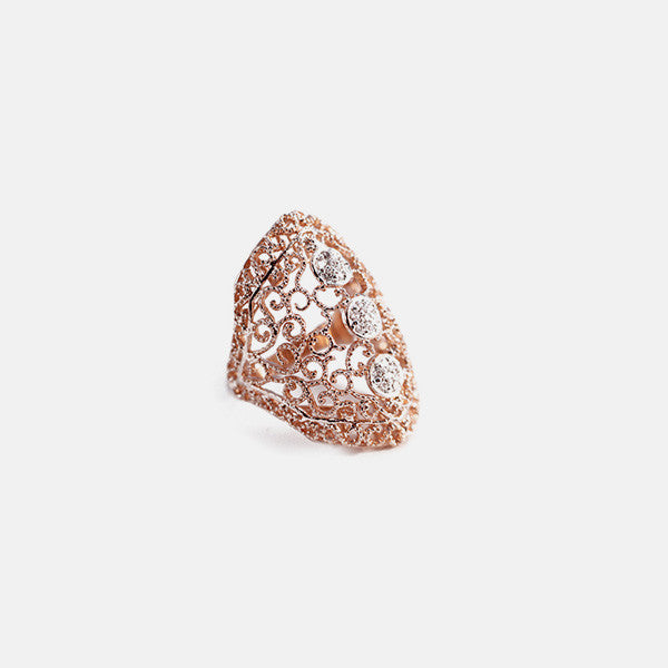 Rosy CZ Filigree Vintage Armor Ring