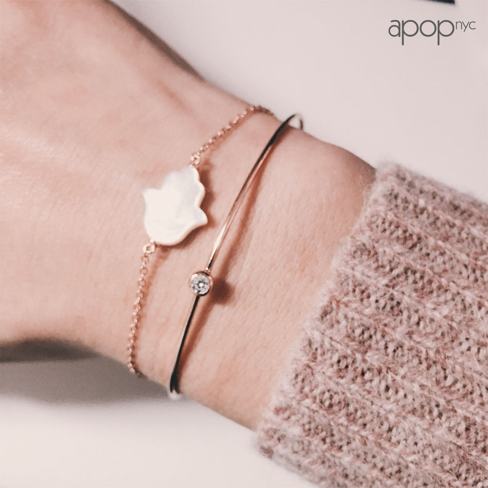 Mini CZ Rosy Bangle Bracelet - Slim