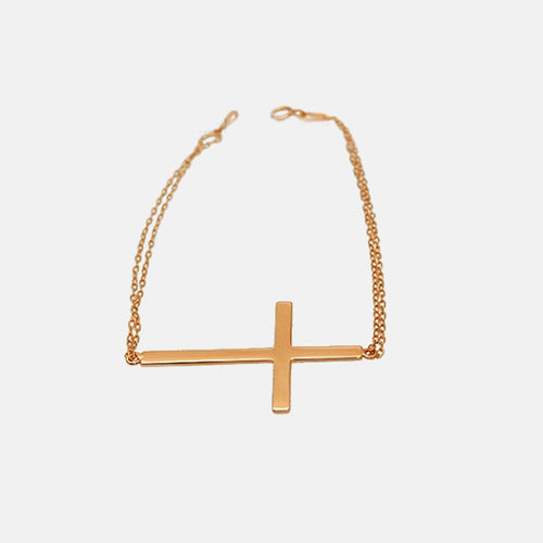 Rosy Horizontal Cross Bracelet 7 inch Large Cross