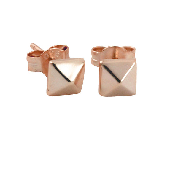 """Tiny"" Rose Gold-Dipped Pyramid Stud Earrings Mini"