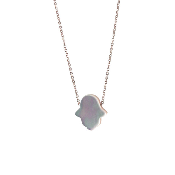 Rosy Pearly Hamsa Necklace