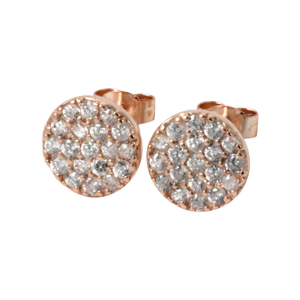 Round Disc Pave CZ Stud Earrings
