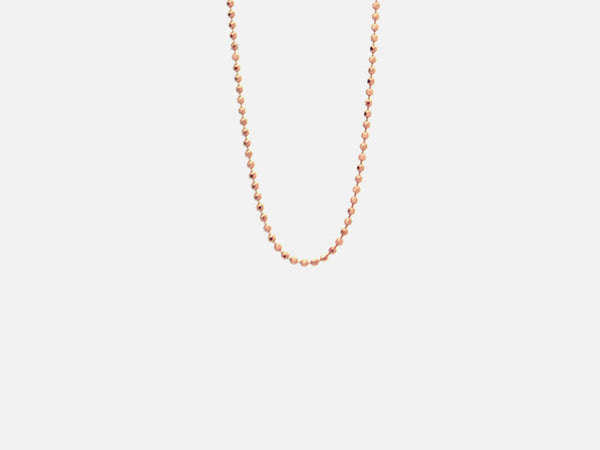"""Rosy"" Rose Goldtone Thin Beaded Chain Necklace 1mm"