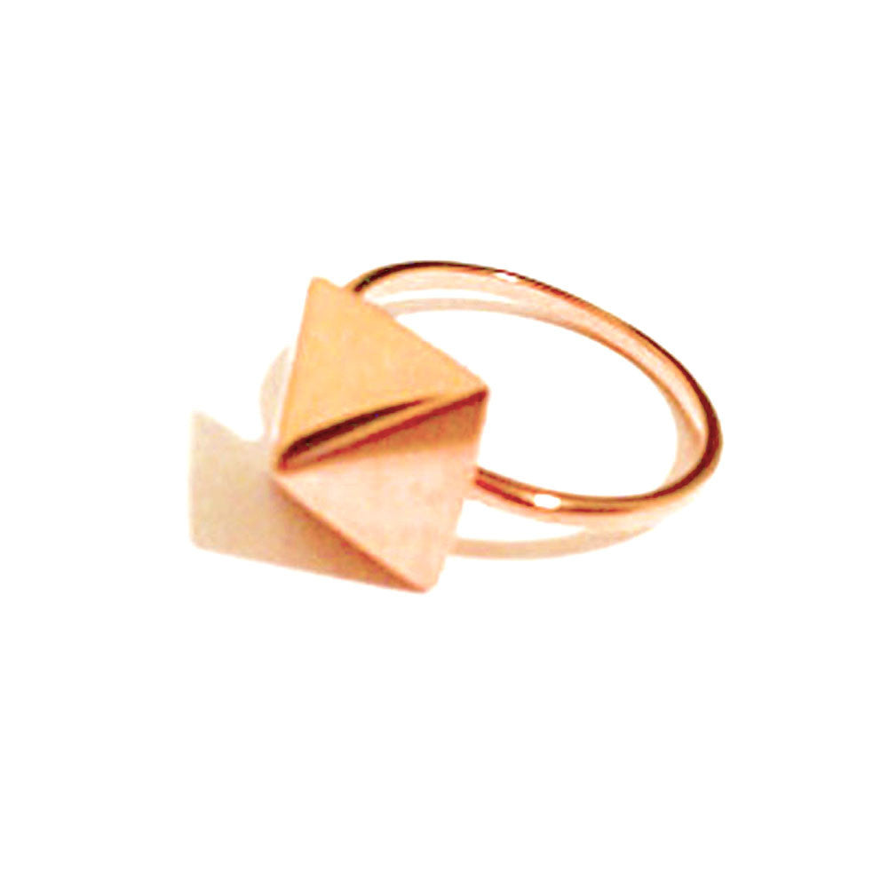 Rosy Pyramid Square Stud Ring