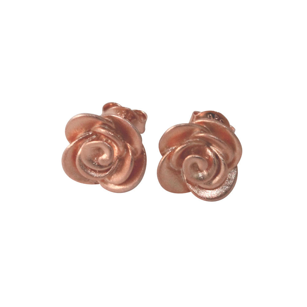"""Sincerely Satin"" Rosy Flower Rose Stud Earrings Flower"