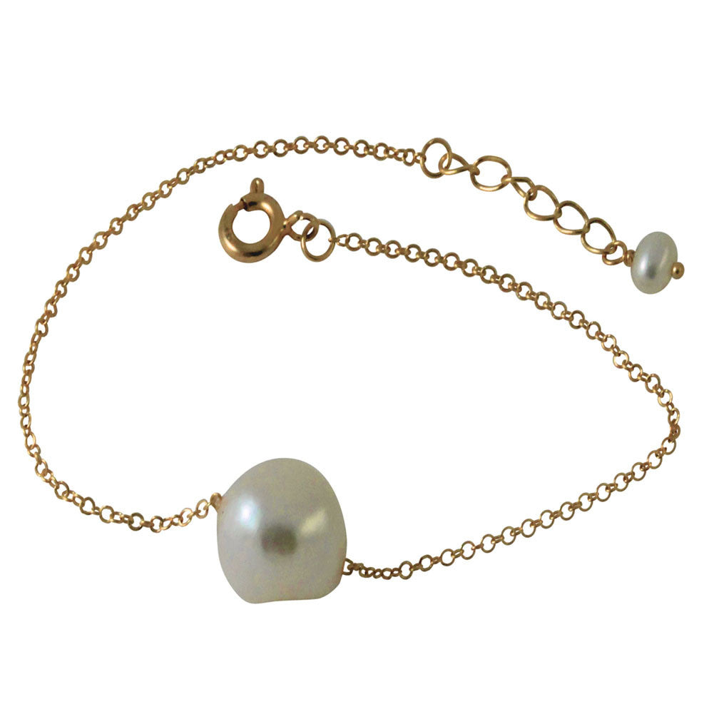 "Rosy Natural ""Baroque"" Single Pearl Bracelet 7 inch"