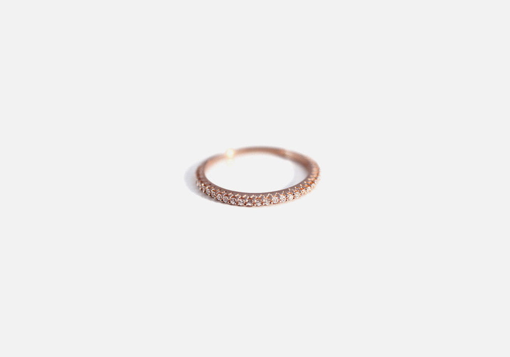 "Rosy ""Eternity"" Thin Band Ring with CZ"