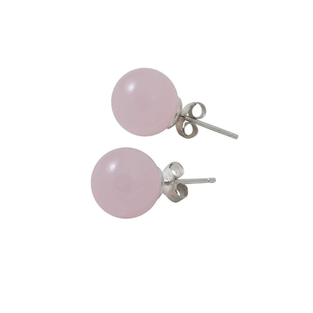 Sterling Silver Rose Quartz Bead Stud Earrings