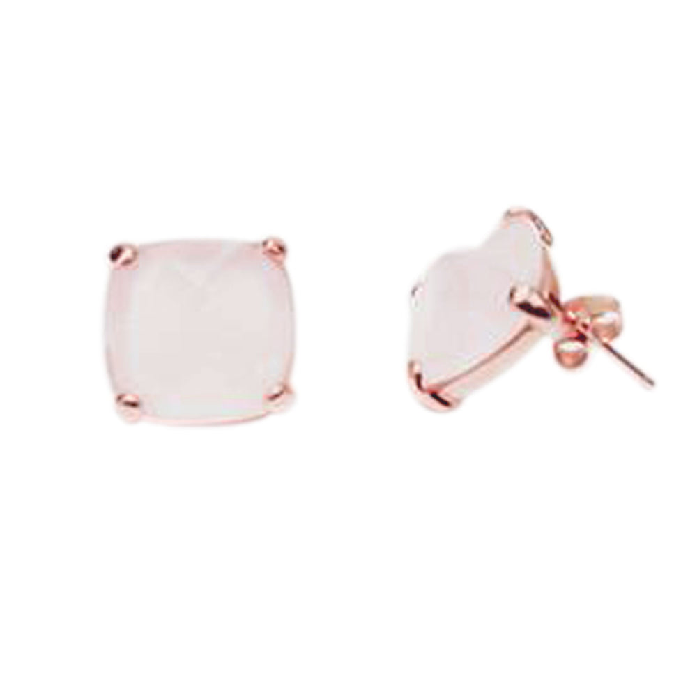 Rosy Rose Quartz Stud Earrings