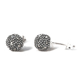 Round Sterling Silver Marcasite Earrings
