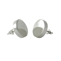 """Signet"" Sterling Silver Round Stud Earrings"