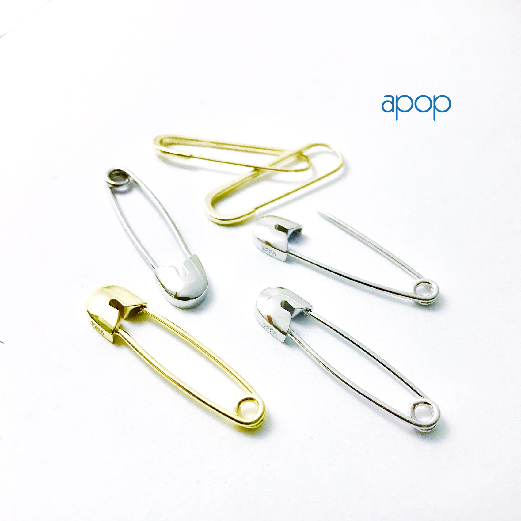 Gold-Dipped Safety Pin Hoop Earring