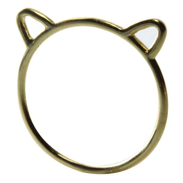 Gold-Dipped Bear the Kitty Cat Ring Midi