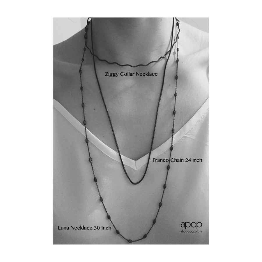 """Whitney"" Two-Tone Blackened Sterling Silver Chain Necklace"