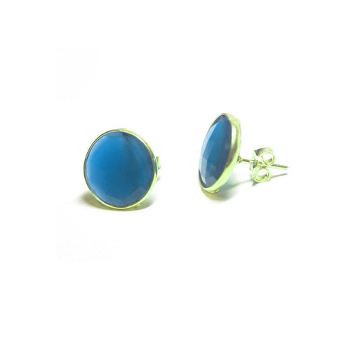 Gold-Dipped Blue Stone Earrings